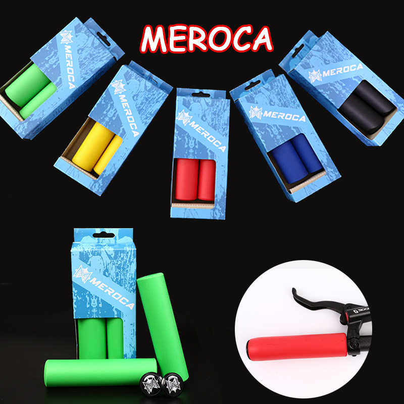 MEROCA 2pcs MTB Handlebar Grips Silicone 130mm Bicycle Handle Bar Grips + End Plugs Non-Slip Bar Cover Mountain Bike Grip Parts