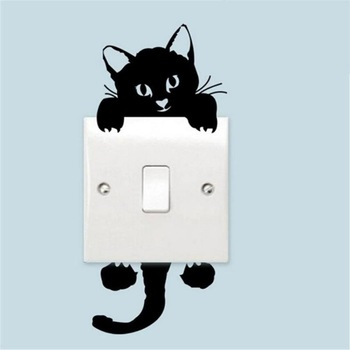 Cute Cat Switch Wall Stickers Decor Art Mural Baby Nursery Room Sticker Wallpaper For Living Room Home Decal Dropshipping image