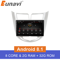 Eunavi 2 din Octa Core 1024*600 Android 8.1 Car GPS Player For Solaris Verna Accent Car PC Headunit Car Radio Video Player Navi