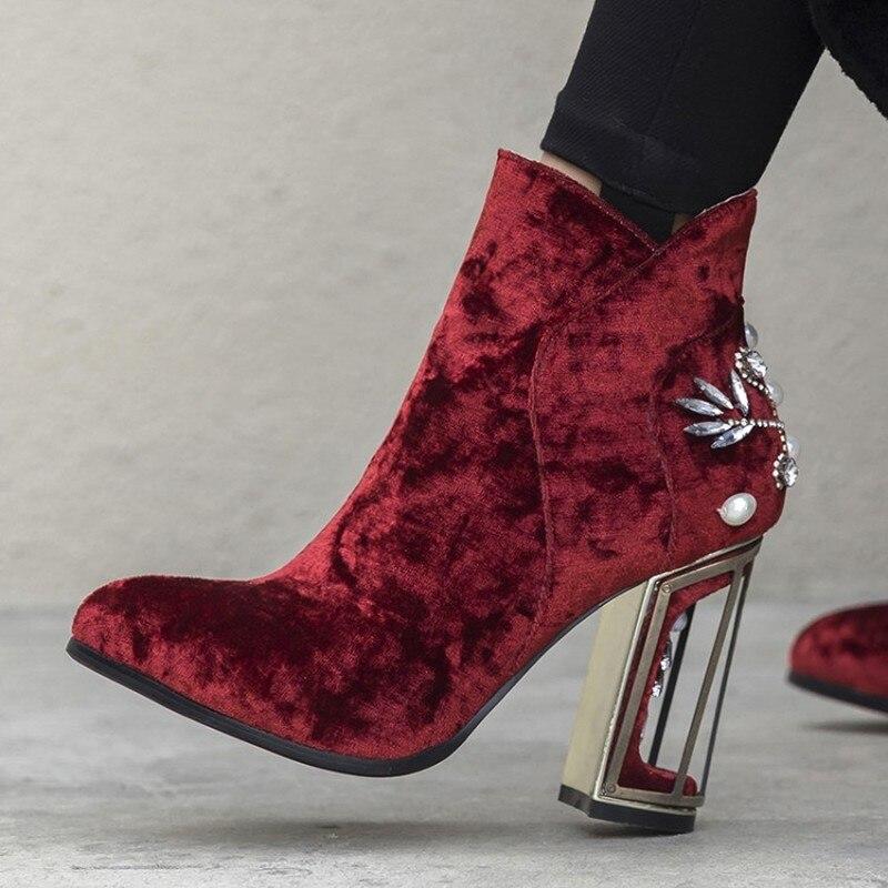 US4 11 Womens Fluwelen Leer Ronde Neus Bloemen Vogelkooi Hakken Rhinestones Crystal Parels Ankel Laarzen Schoenen 3 Kleuren Plus Size - 6