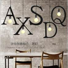 Tieyi English letter chandelier personalized lamp restaurant coffee bar clothing store letter combination Chandelier(China)