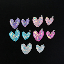 10Pcs Cute Flatback Resin Glitter Heart Pendant For DIY Jewelry Fashion Earrings Findings Necklace Charm Accessories 2016 10pcs zinc alloy plating silver nautical compass charm pendant necklace diy fashion jewelry accessories for woman