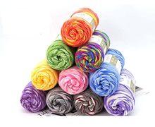 100g arco-íris algodão lote malha tecer veludo arco-íris tricô crochê skein fio quente leite mão-tecido lã grossa