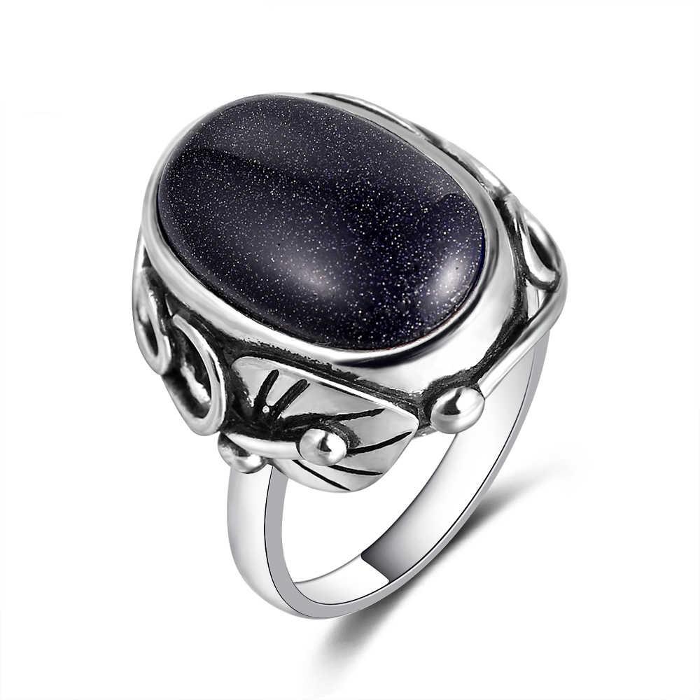 الأزرق الحجر الرملي خواتم للنساء 925 فضة مجوهرات خاتم كبير البيضاوي الأحجار 11x17 مللي متر البيضاوي الأحجار الكريمة هدايا بالجملة