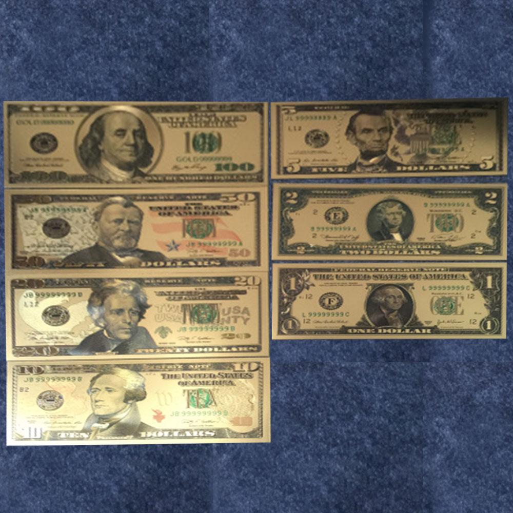 Золотая фольга доллары, бумажные доллары, американские банкноты, 1-100 долларов, мировые деньги, золотые банкноты, сувениры, коллекционный под...