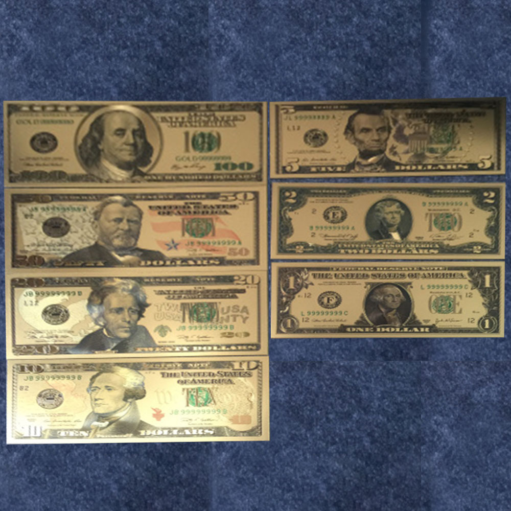 Gold Foil USD Paper Money America Banknotes US 1 to100 Dollar World Money Crafts Golden Bank Notes Souvenirs Collector Gift image