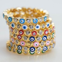 2021 Gold Color Stacking Women Finger Band Colorful Red Pink Blue Green Enamel Evil Eye Eternity Rings