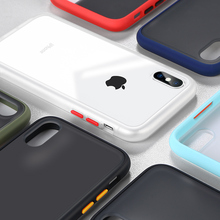 Shockproof Bumper Phone Case For iPhone Xs Max Silicone TPU + PC Cover For iPhone X XR 6 7 8 Plus Transparent Protective Fundas protective tpu plastic bumper frame for iphone 4 4s black transparent white