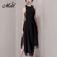 Max Spri 2020 New Spring Solid O Neck Sleeveless Asymmetric Hem Lace Dress Women Elegant Party Dresses With Sashes