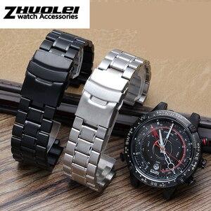 Image 3 - Rvs horlogeband voor heren TIMEX T2N720 T2N721 TW2R55500 T2N721 horloge band 24*16mm lug end zilver zwarte armband