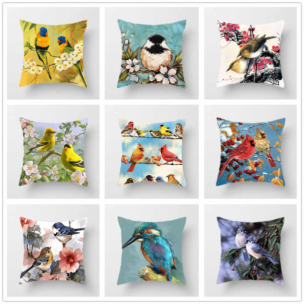 Lovely Bird Cushion Cover Flower Pattern Pillow Covers Decorative for Sofa Car Bed Living Room Decor Polyester Linen Accessories