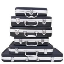 Tragbare Kunststoff Aluminium Legierung ToolBox Koffer Auswirkungen Beständig Sicherheit Instrument Fall Lagerung Box Mit Schwamm Futter