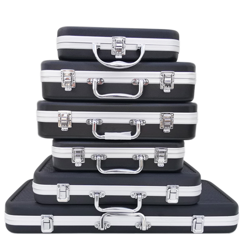 Portable Plastic Aluminum Alloy Toolbox Suitcase Impact Resistant Safety Instrument Case Storage Box With Sponge Lining