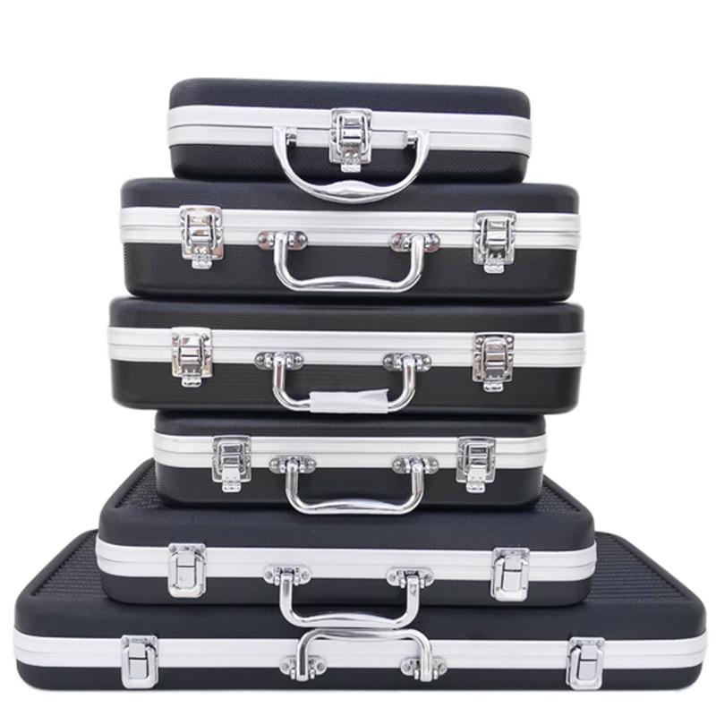 Portable plastic aluminum alloy toolbox Suitcase Impact resistant Safety Instrument case Storage box with Sponge Lining(China)