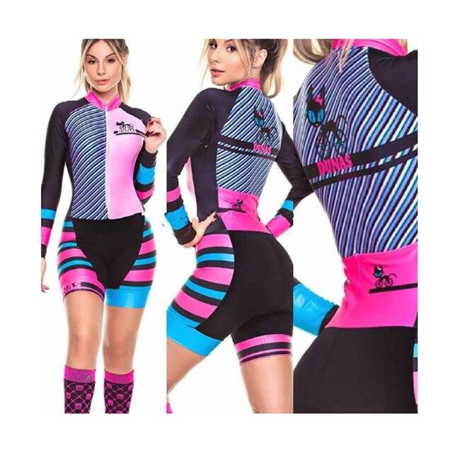 Das mulheres longas calças Ciclismo Skinsuit Maillot Ropa ciclismo Triathlon curto de Manga comprida Casal Bicicleta Jersey define Macacão 6