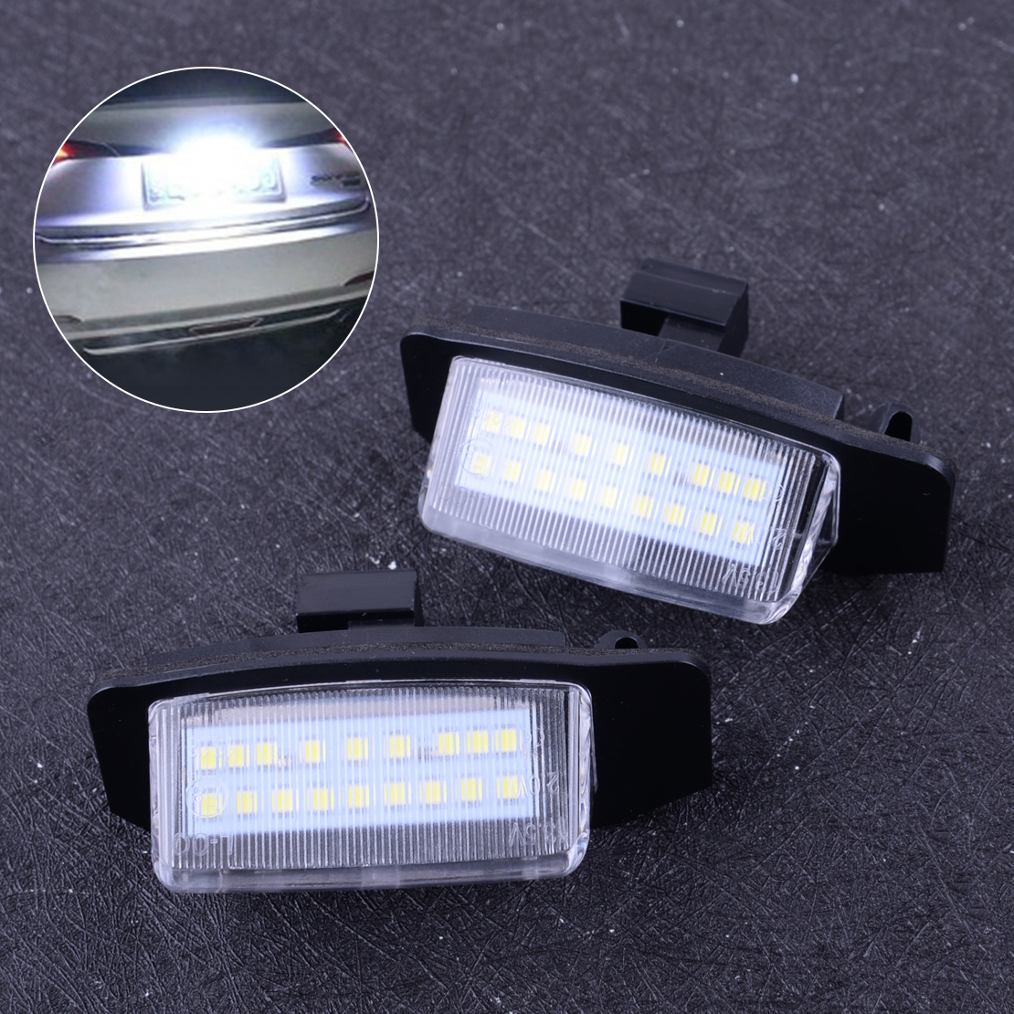 CITALL 2Pin 12V 2400Lm 18LED 번호 번호판 라이트 리어 램프 벌브 Assy Fit For <font><b>Mitsubishi</b></font> Lancer Sportback & <font><b>Outlander</b></font> <font><b>2008</b></font> image