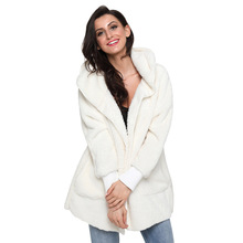 цена на Autumn and winter new solid color cardigan long-sleeved pocket soft wool casual hooded sweater coat