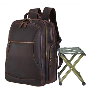 Image 1 - MAHUE Leather Backpack With Collapsible Chair Large Capacity Leather Backpack For 17 Inch Laptop Top Layer Cowhide Travel Bag