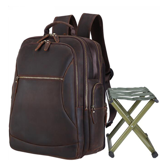 MAHUE Leather Backpack With Collapsible Chair Large Capacity Leather Backpack For 17 Inch Laptop Top Layer Cowhide Travel Bag