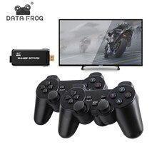 Dados sapo 4k hd vídeo game console 2.4g duplo sem fio controlador para ps1/gba clássico retro tv console de jogos 64gb 10000 jogos