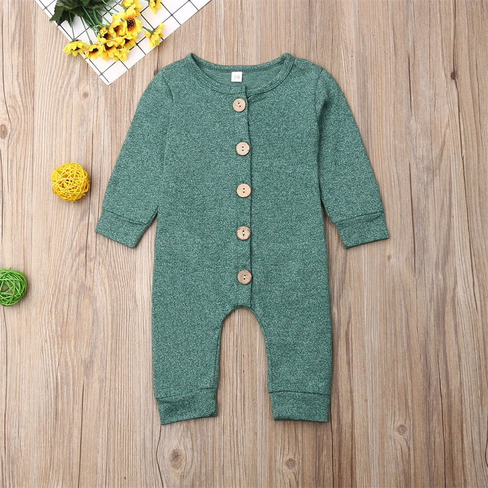 Pudcoco Newborn Baby Boy Girl Clothes Solid Color Cotton Button Romper Jumpsuit One-Piece Outfit Playsuit Autumn Clothes