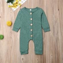 Pudcoco Newborn Baby Boy Girl Clothes Solid Color Cotton Button Romper