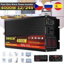Инвертор, трансформатор напряжения с 12 В пост. тока на 220 В перем. тока, 12/24 В, 220 В, 2000/3000/4000 Вт + 2 светодиодных дисплея