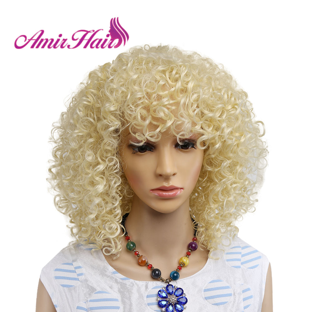 Amir Afro Kinky Curly Blonde Synthetic Wigs For African American Women Medium Length Heat Resistant Fiber Cosplay Hair
