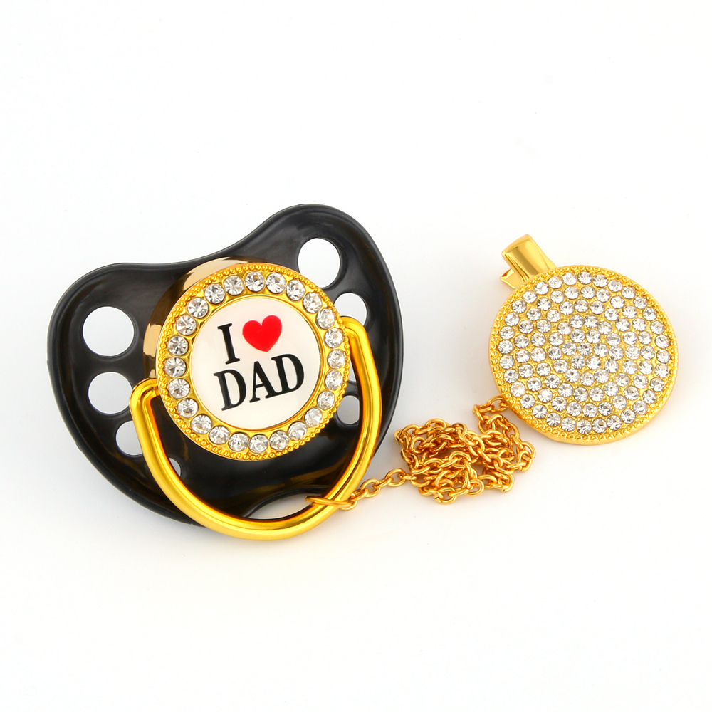 Luxury I Love Dad Mum Baby Bling Pacifier And Pacifier Clip Baby Registry Gift Soother Glitter Newborn Unisex Baby Shower Gift