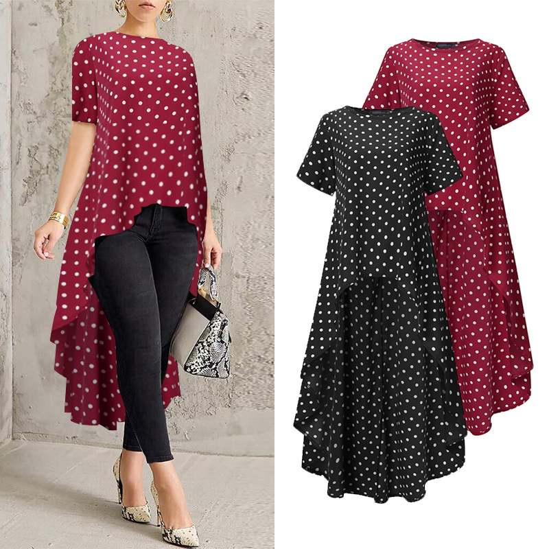 Stylish Asymmetrical Tops Women's Summer Blouse ZANZEA 2020 Casual Short Sleeve Shirts Female Polka Dot Blusas Plus Size Tunic