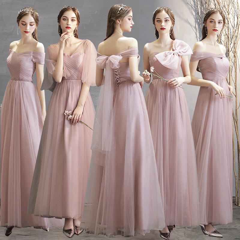 Dusty Blue Bridesmaid Dresses Pink Plus Size Custom Made Wedding Party Dress Chiffon Wedding Guest Dress Bow Bridesmaid Dresses