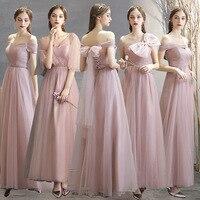 Dusty Blue Bridesmaid Dresses Pink Plus Size Custom Made Wedding Party Dress Chiffon Wedding Guest Dress Bow Bridesmaid Dresses