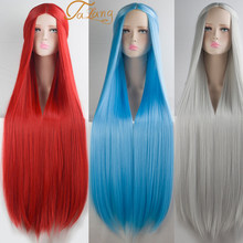 TALANG100CM Lolita Cosplay Wig Blonde Blue Red Pink Green Purple Hair for Cosplay Party Long Straight Synthetic Wigs for Women(China)