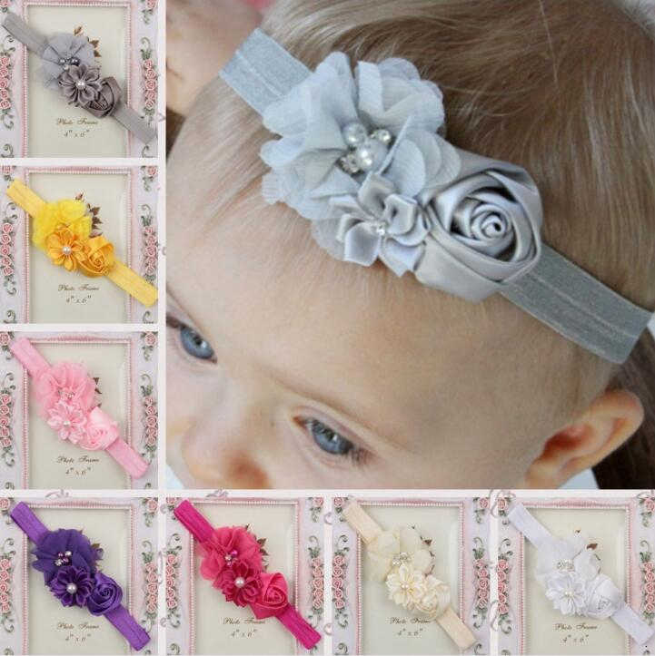 girl baby headband Infant hair Band newborn Headwear headwrap Toddlers Ribbon Kids Flower pearl turban Hair Accessories children