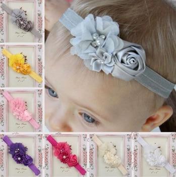 Fille bébé bandeau infantile bandeau de cheveux nouveau-né chapeaux bandeau bambins ruban enfants fleur perle turban cheveux accessoires enfants
