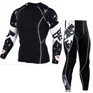 Muscle Shirt Base-Layer Fitness 3d-Printed Leggings Tight-Tops Compression-Sets MMA Bodybuilding