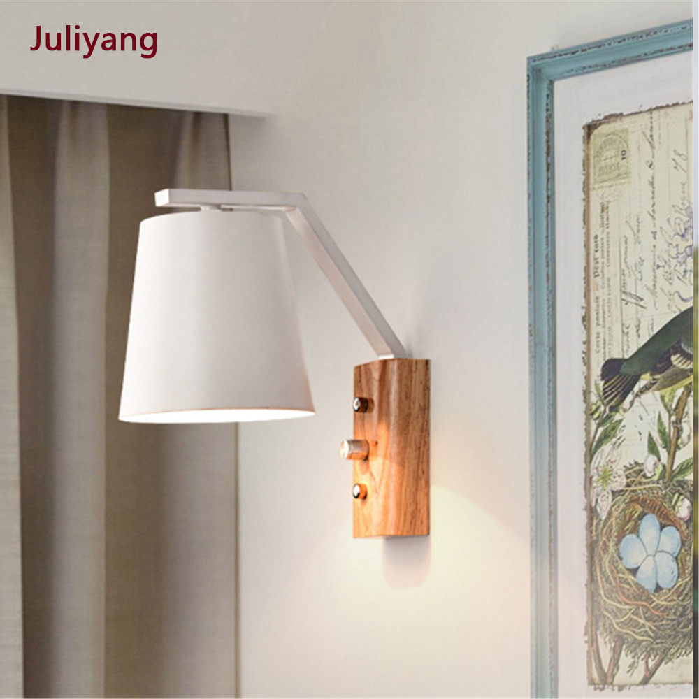 Bedroom Lamp Simple Modern Wall Light Creative Wood Art Wall Lamp Bedside Balcony Aisle Study Reading Wall Sconce