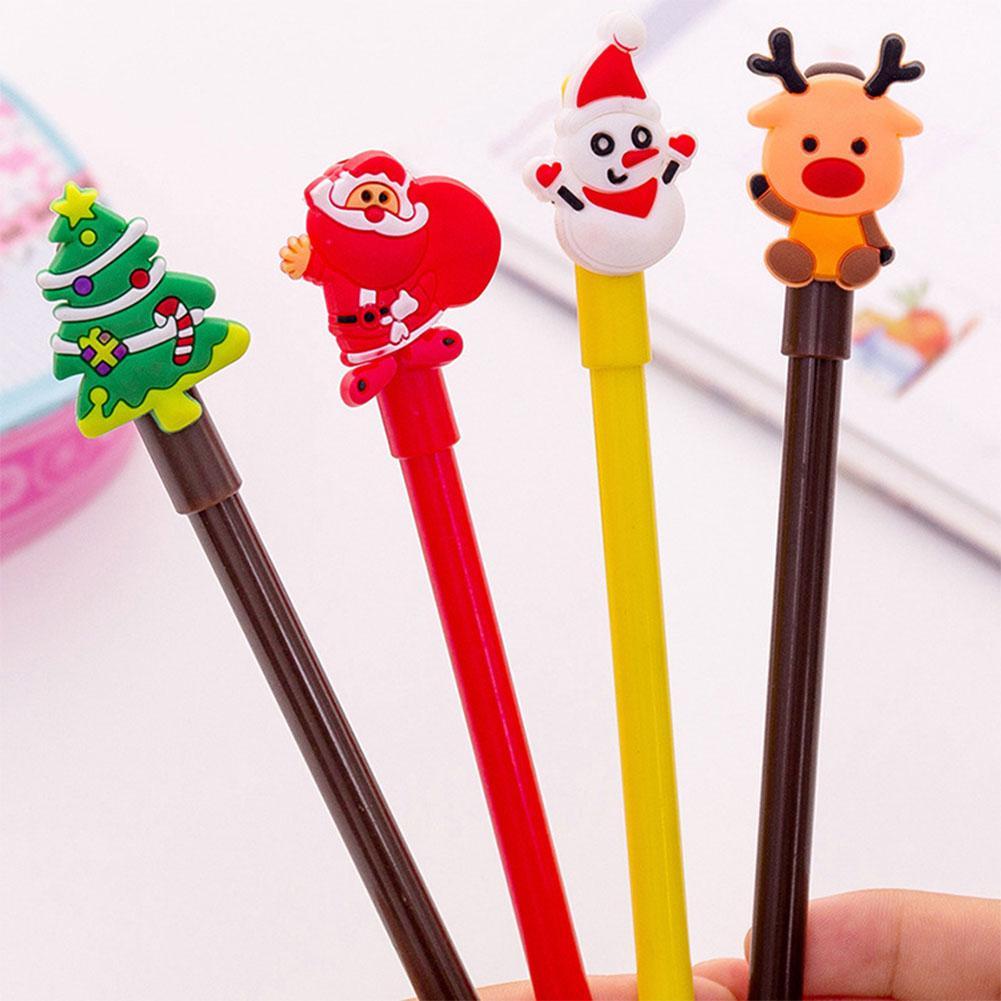 Christmas Black Gel Pen Cartoon Santa Clause Snowman Xmas Tree Deer Neutral Pen