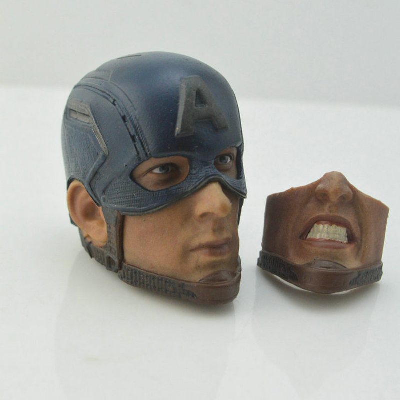 In stock <font><b>1/6</b></font> Scale Captain America head of <font><b>Beard</b></font> Chris Evans Head Sculpt Carved 2 Faces Collection image