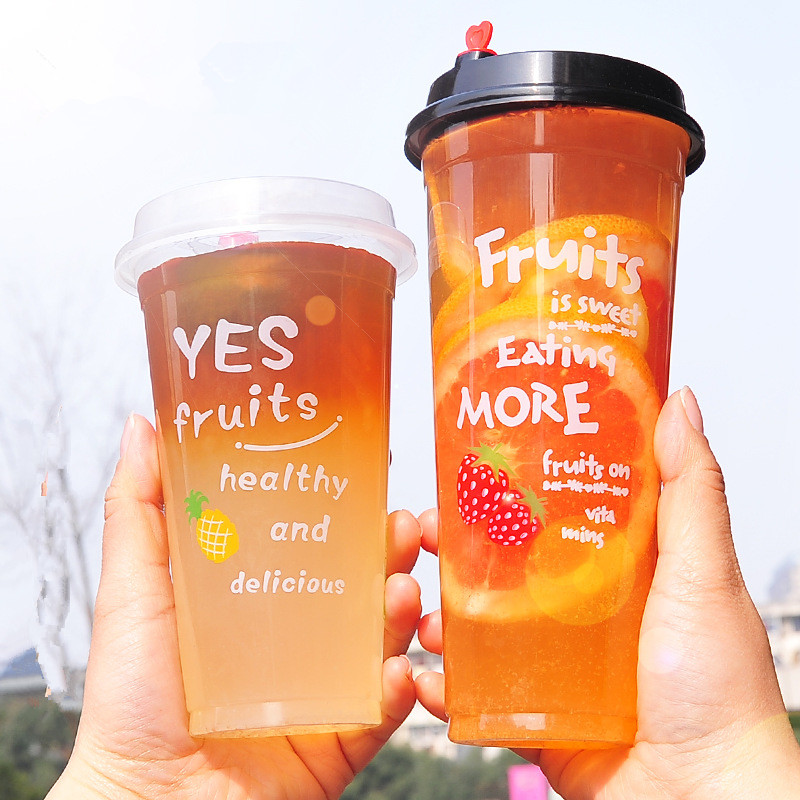 50pcs High Quality 500ml 16oz Disposable Cup Party Favors Plastic Cups Milk Tea Soy Fruit Orange Juice Packaging Cup With Lid