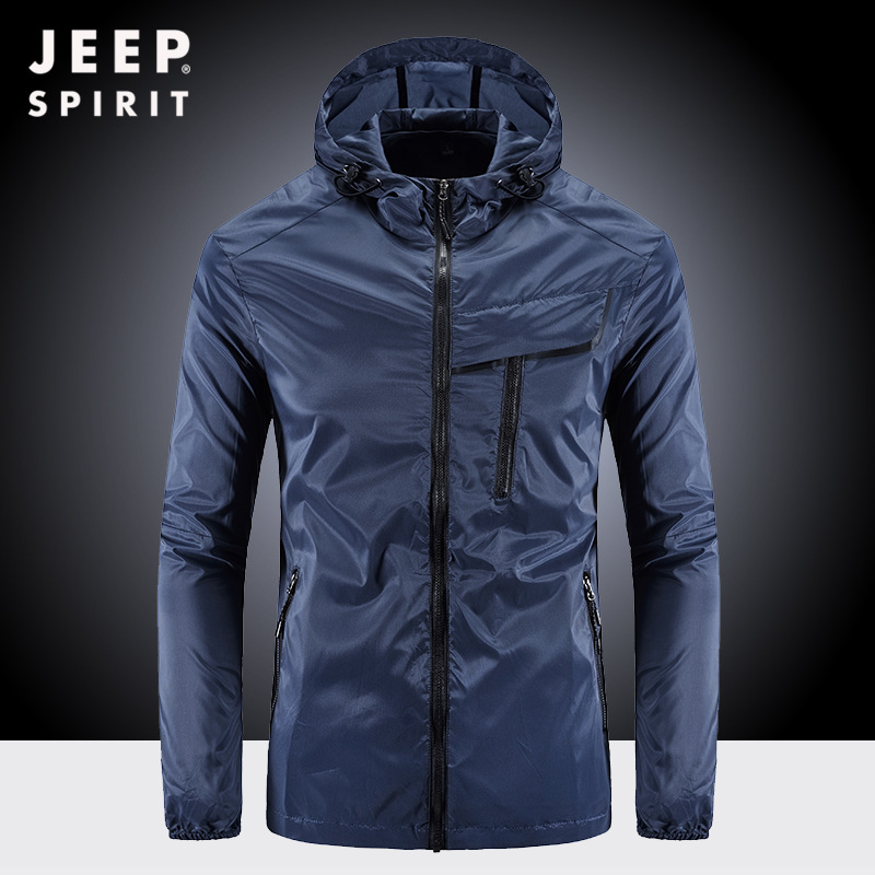 JEEP SPIRIT Jacket Men's Clothing Hooded Sun Protection Breathable Summer Jacket Outdoor Sports Handsome Mens Jackets and Coats