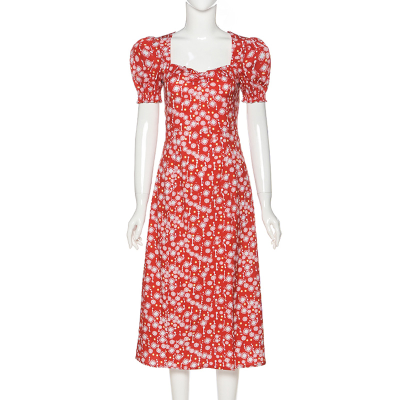 Women Summer Vintage Party Dress Lady France Style Puff Sleeve Floral Print Square Collar Side Split Midi Dress Vestido 2021 New