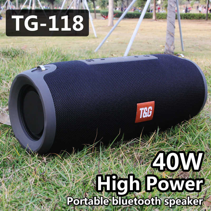 40W TG118 Bluetooth Speaker Outdoor Wireless Kolom Subwoofer Musik Pusat BoomBox Portable 3D Stereo 3600M AH Baterai FM/TF/AUX