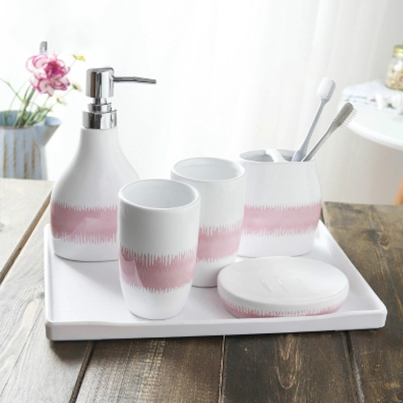 Design Bathroom set liquid soap dispenser Ceramic hand lotion dispenser Flamingo home gift 5pcs soap dish bathroom decor in Bathroom Accessories Sets from Home Garden