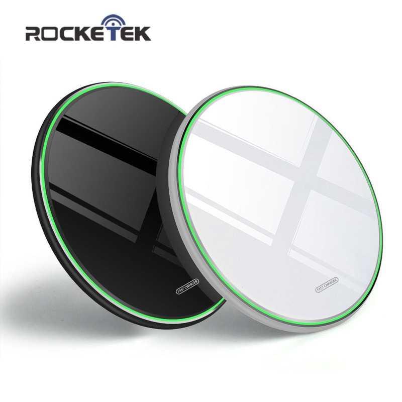 Rocketek 10W تشى اللاسلكية شاحن آيفون X/XS ماكس XR 8 زائد مرئية عنصر لوحة شحن لاسلكي لسامسونج S9 S10 + ملاحظة 10