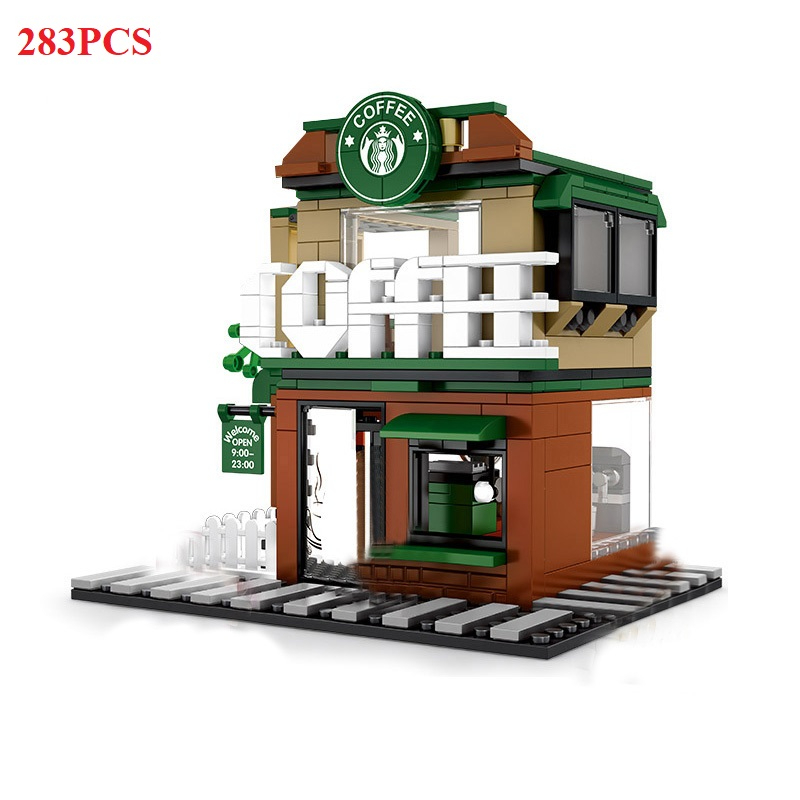 Image 4 - 280+ PCS Mini City Street View Building Blocks Coffee Shop Hamburger Store City Diy Bricks Toys For Children Christmas GiftsBlocks   -
