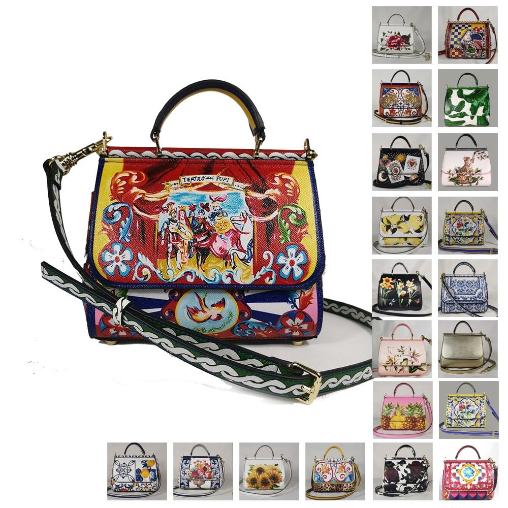 Portable Female Bag Lady Diagonal Bag Printing Flower Beach Handbag Mini Miss Sicily Tote Bag Branded Tote Bag In Tie Dye Print