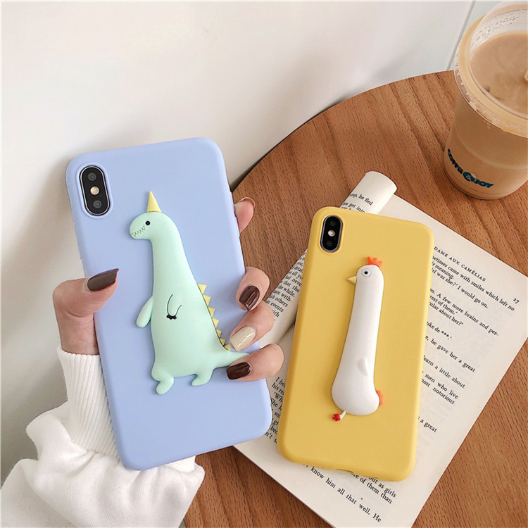 3D Dinosaur Chick Cartoon Candy Case For Samsung Galaxy A01 A11 A21 A31 A41 A51 A71 A81 A91 A90 5G Chicken Funda Soft TPU Case