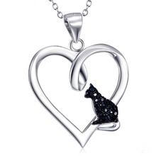 Silver 925 Jewelry Black Crystal Cat Heart Pendant Sterling Silver  Necklaces For Women Quality Jewelry Anniversary Gift цена в Москве и Питере