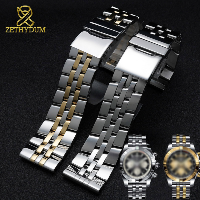316L stainless steel watchband 22mm 24mm solid metal band for <font><b>breitling</b></font> Watch <font><b>strap</b></font> mens watch bracelet for A49350 AB042011 image